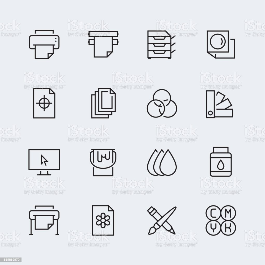 Printing vector icon set in thin line style vector art illustration