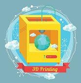 3D Printing illustration. Editable vector eps8 file.