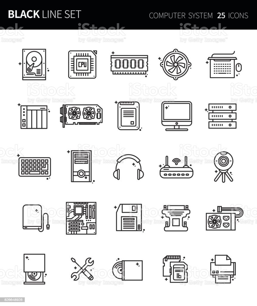 PrintModern thin black line icons set of computer system. Premium quality outline symbol set. Simple linear pictogram pack. Editable line series vector art illustration