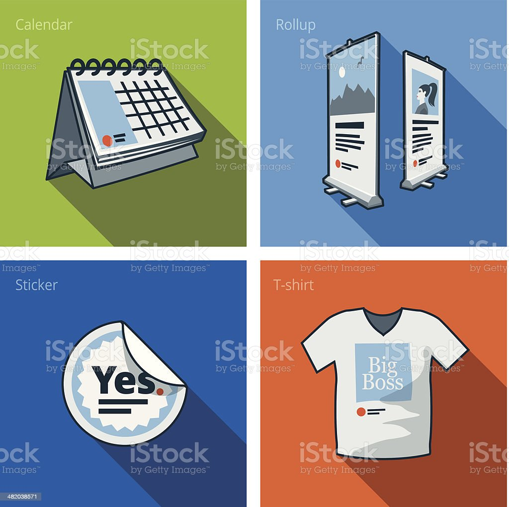 Printouts icon set of calendar, rollup banner, sticker and t-shirt vector art illustration