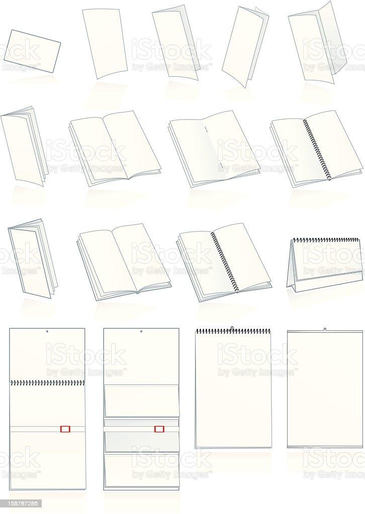 Print-press paper production. Leaflets, booklets, calendars vector art illustration