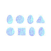 Set of icons prints fingerprints. Vector illustration