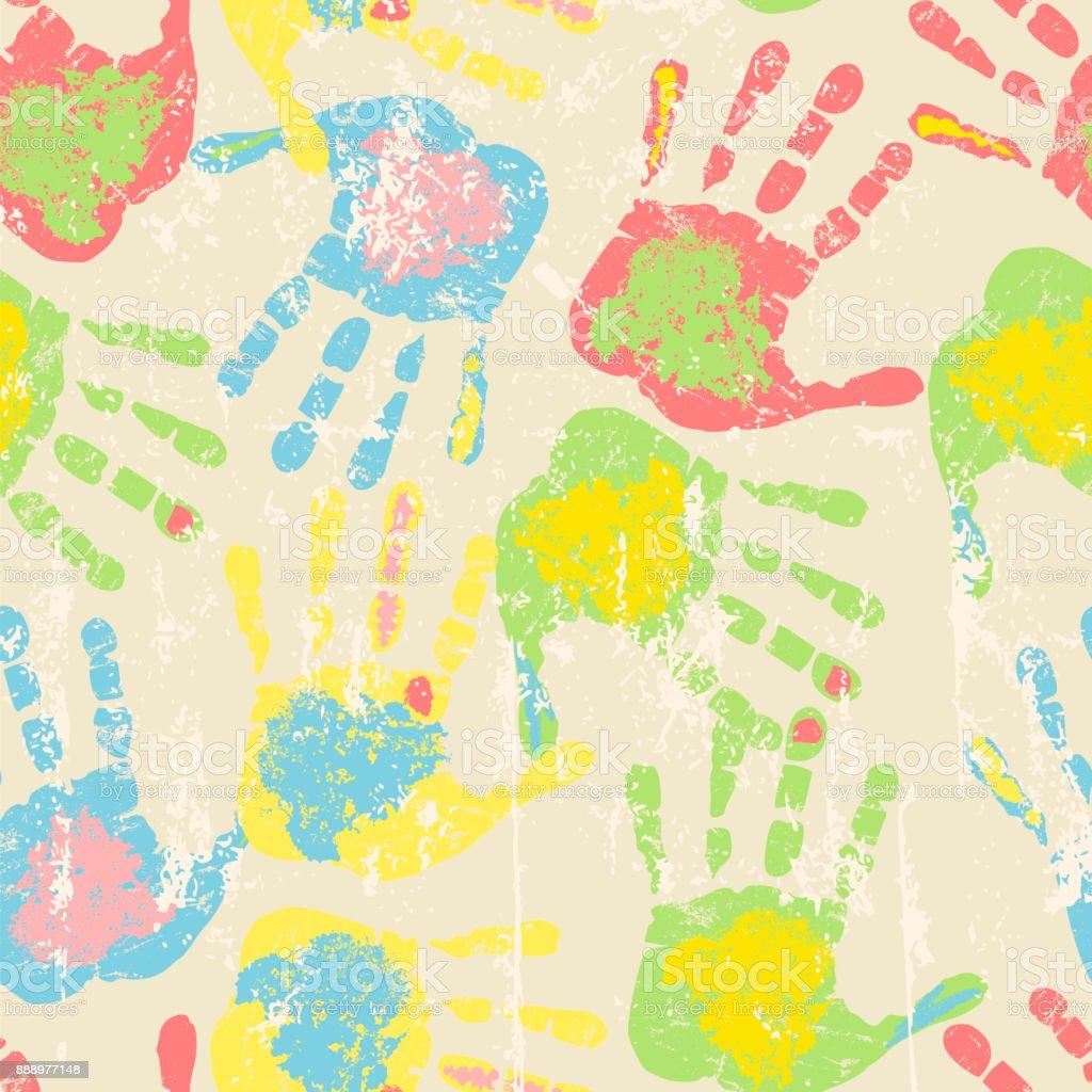 Drucke von Händen, nahtlose Muster – Vektorgrafik