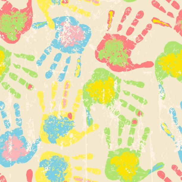stockillustraties, clipart, cartoons en iconen met afdrukken van handen, naadloze patroon - baby dirty