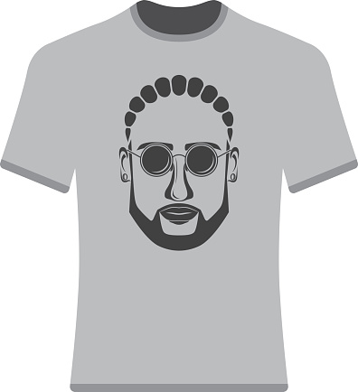 Prints T-shirts with the image of hipsters, afro-hipsters and bearded.