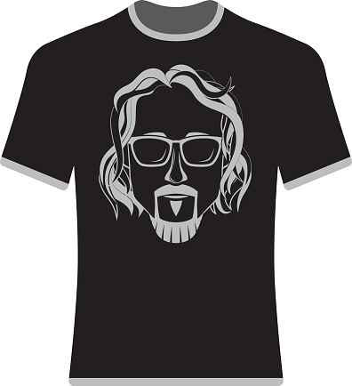 Prints T-shirts with the image of hipsters and bearded.