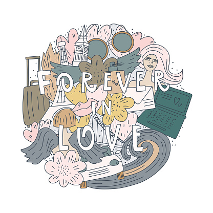 PrintVector doodle style illustration and quote: forever in love. Objects pattern