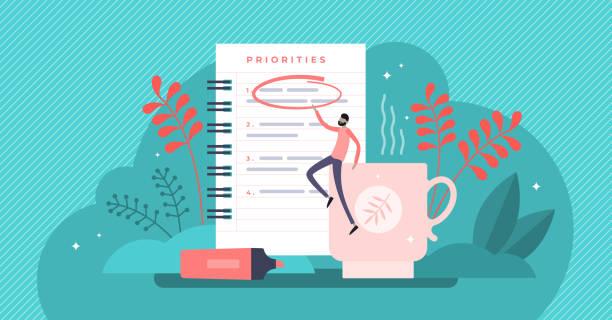 ilustrações de stock, clip art, desenhos animados e ícones de priorities vector illustration. tiny agenda importance list persons concept - important