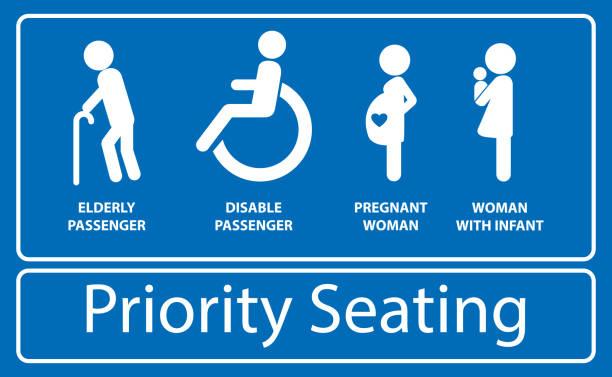 priorität sitz aufkleber. verwendung in öffentlichen verkehrsmitteln, wie bus, zug, mass rapid transit und - fahrzeugsitz stock-grafiken, -clipart, -cartoons und -symbole