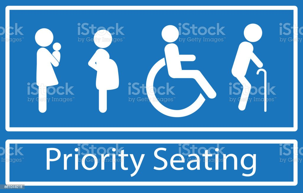 Priority seating sign vector art illustration
