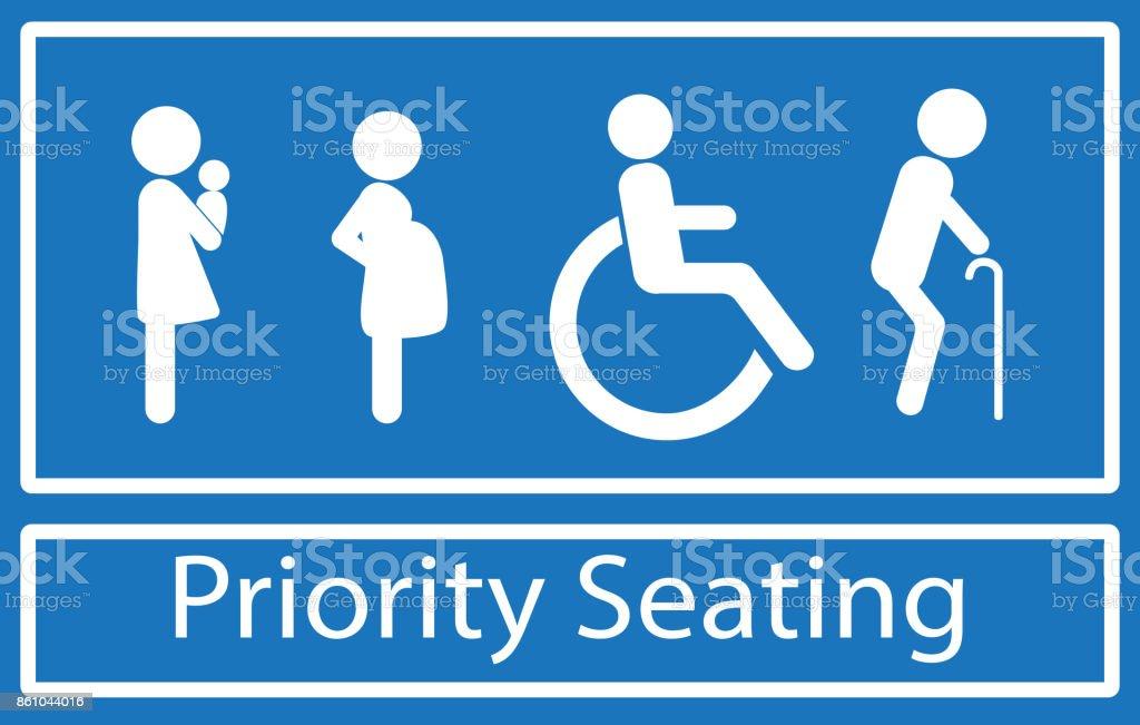 Signo de asientos de prioridad - ilustración de arte vectorial