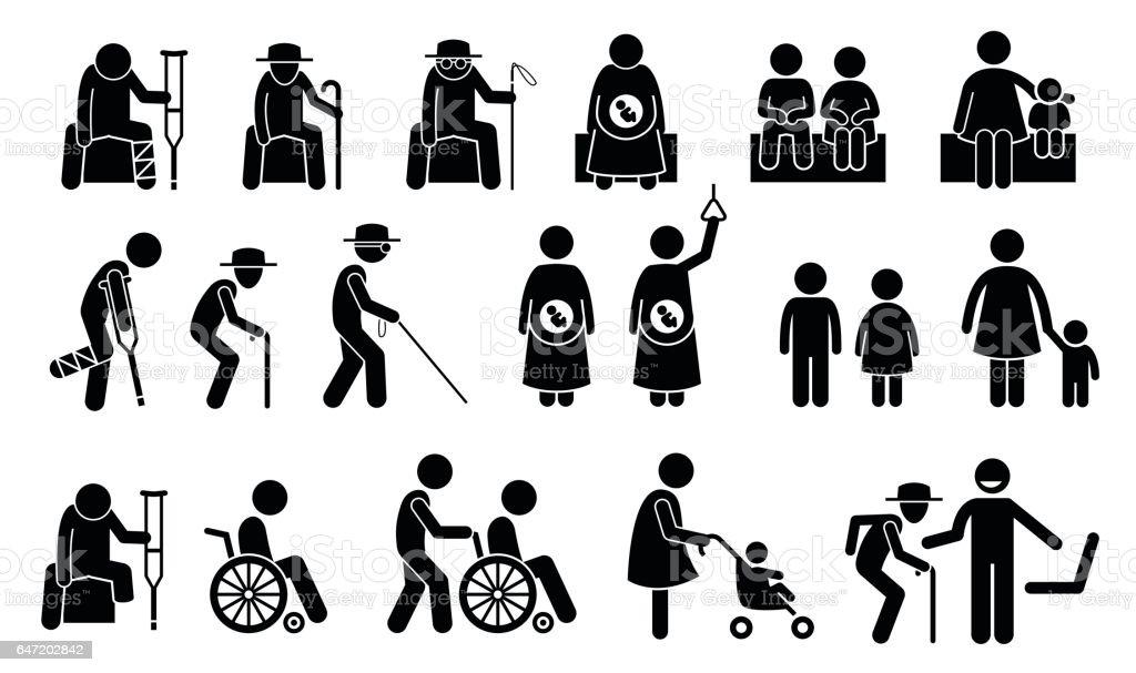 Priority Seats vector art illustration