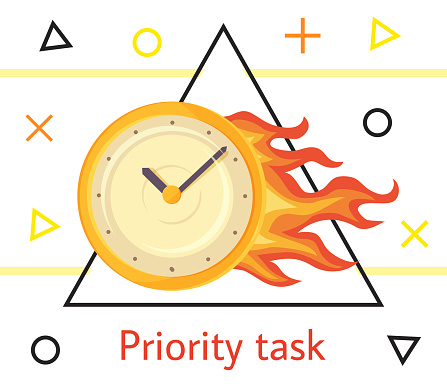Priority task concept illustration with wall round yellow clock is ablaze with bright fire on white background with geometric elements. Time management, deadline business vector image with watch