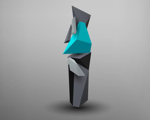 3D Prism Font - i - ilustración de arte vectorial