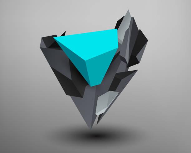 Fuente Prisma 3D - v - ilustración de arte vectorial