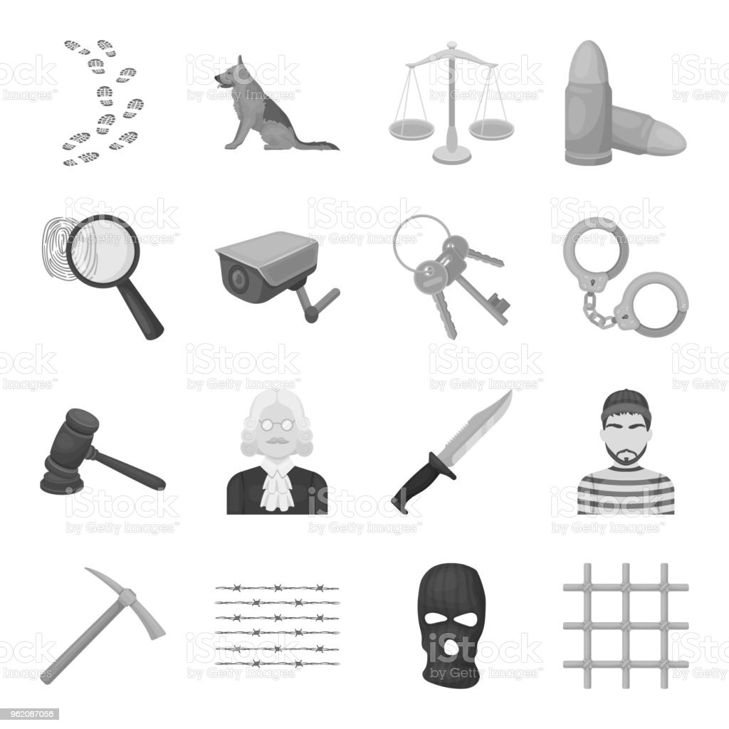Prison And The Criminal Monochrome Icons In Set Collection For ...