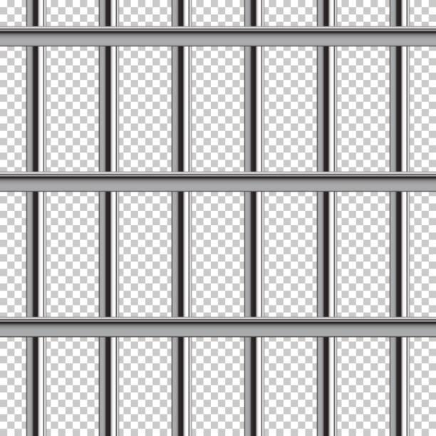 gefängnis bar musterdesign. vektor-realistische illustration isoliert auf transparentem hintergrund. - gitter stock-grafiken, -clipart, -cartoons und -symbole
