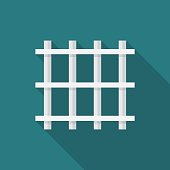Prison bars icon with long shadow. Flat design style.