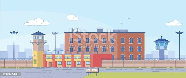 Prison Building Surrounded by High Fence Exterior on Landscape Background. Jail House with Observation Towers for Prisoners Guardness. Punishment and Judgement for Crime. Flat Vector Illustration.