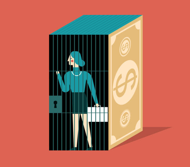 Prison- Businesswoman The businesswoman was trapped in a money jail bribing stock illustrations