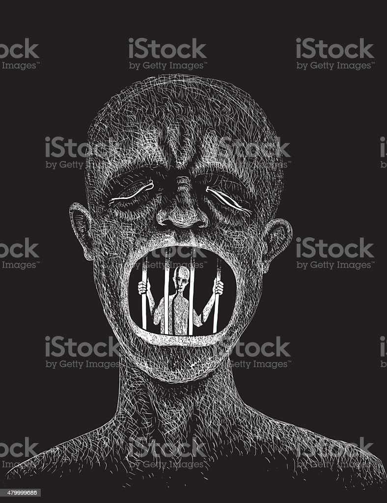 Prison cell vector art illustration