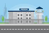 Prison city building in urban landscape.