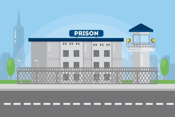 illustrations, cliparts, dessins animés et icônes de construction dans le paysage urbain de la ville prison. - prison