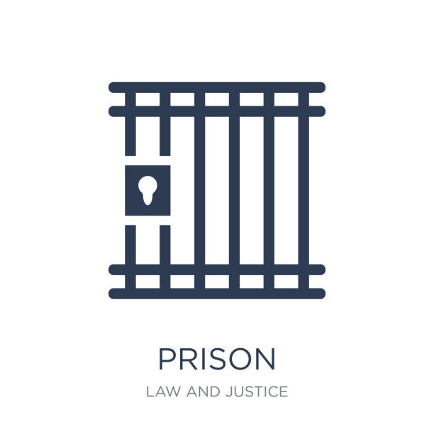 ilustrações de stock, clip art, desenhos animados e ícones de prison icon. trendy flat vector prison icon on white background from law and justice collection - prisão