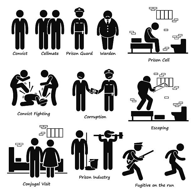 Prison Jail Convict Prisoner Inmates Guard Warden Stick Figure Pictogram A set of human pictogram representing everything that is in a prison which includes the inmates, guard, warden, cell, convict fighting, corruption, prison industry, conjugal visit, and prisoner escaping from jail by breaking out. infamous stock illustrations