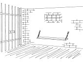 Prison jail interior graphic black white sketch illustration vector