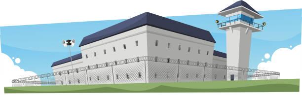 illustrations, cliparts, dessins animés et icônes de prison prison penitentiary building - prison