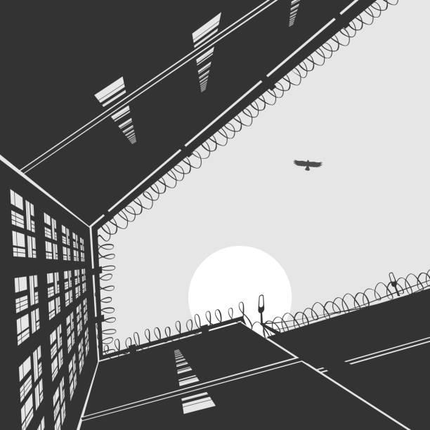 illustrations, cliparts, dessins animés et icônes de bâtiment administratif de la prison paysage - prison