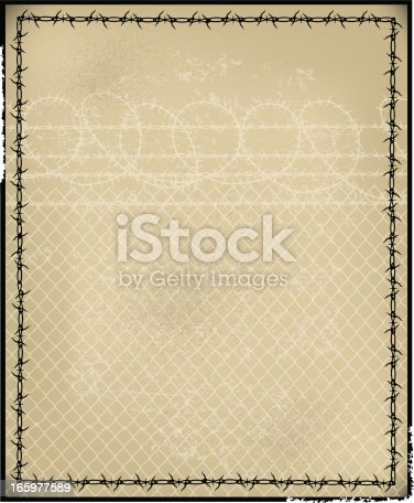 Illustrator 10 with Transparencies. Grunge style background illustration of a prison fence and barbwire. Check out my