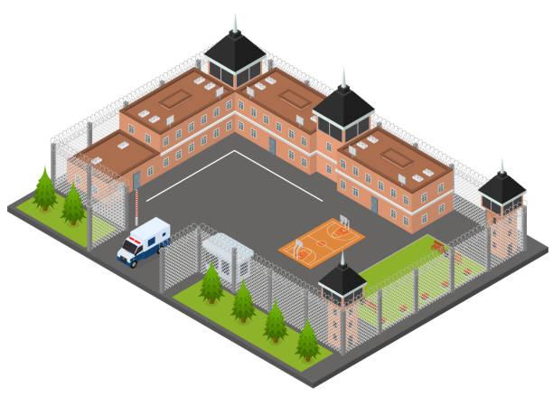 illustrations, cliparts, dessins animés et icônes de concept pénitentiaire de la prison vue 3d isométrique. vector - prison