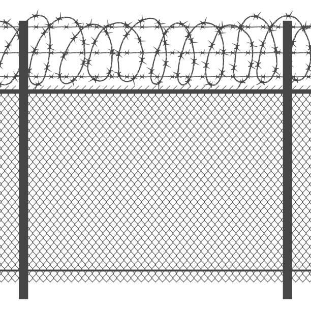 Valla de metal de privacidad prisión con alambre de púas silueta negra transparente de vector - ilustración de arte vectorial