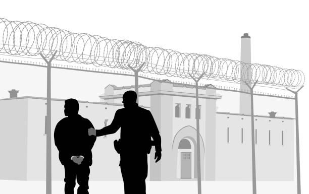 illustrations, cliparts, dessins animés et icônes de personnel de sécurité de la prison - prison