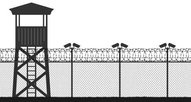 Prison tower, checkpoint, protection territory, watchtower, state border,military base. Street camera on the pillar. Fence wire mesh barbed wire, seamless vector silhouette Prison tower, checkpoint, protection territory, watchtower, state border,military base. Street camera on the pillar. Fence wire mesh barbed wire, seamless vector silhouette tower stock illustrations