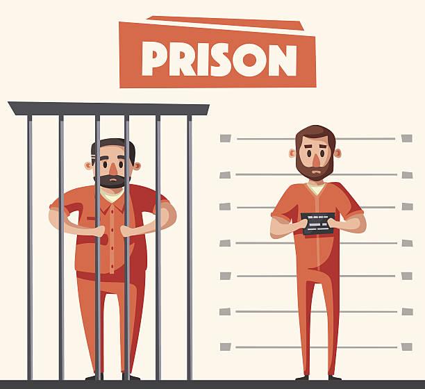illustrations, cliparts, dessins animés et icônes de prison with prisoner. character design. cartoon vector illustration - prison