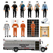 Prisoner and prison guard uniforms set. Vector
