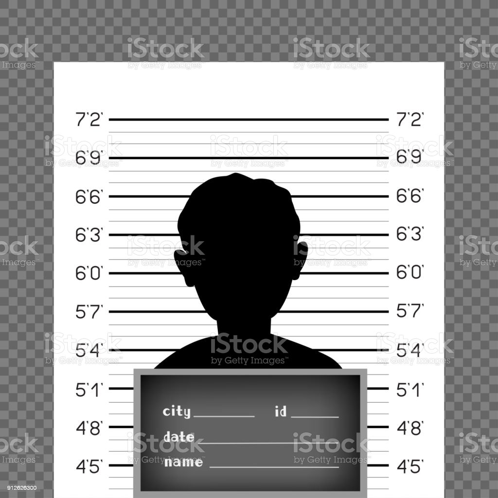 prisoner front police wall with scale vector art illustration