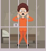Prisoner man character in jail