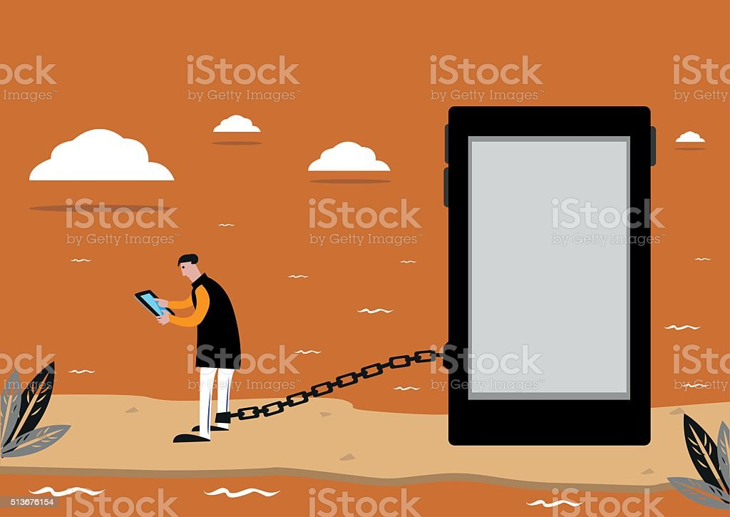 Prisoner of Social Media or Addiction to the Internet vector art illustration