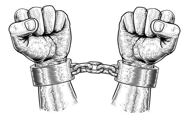 ilustraciones, imágenes clip art, dibujos animados e iconos de stock de preso grilletes encadenado manos vintage xilografía - human trafficking