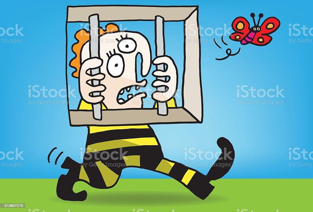 Prisoner vector art illustration