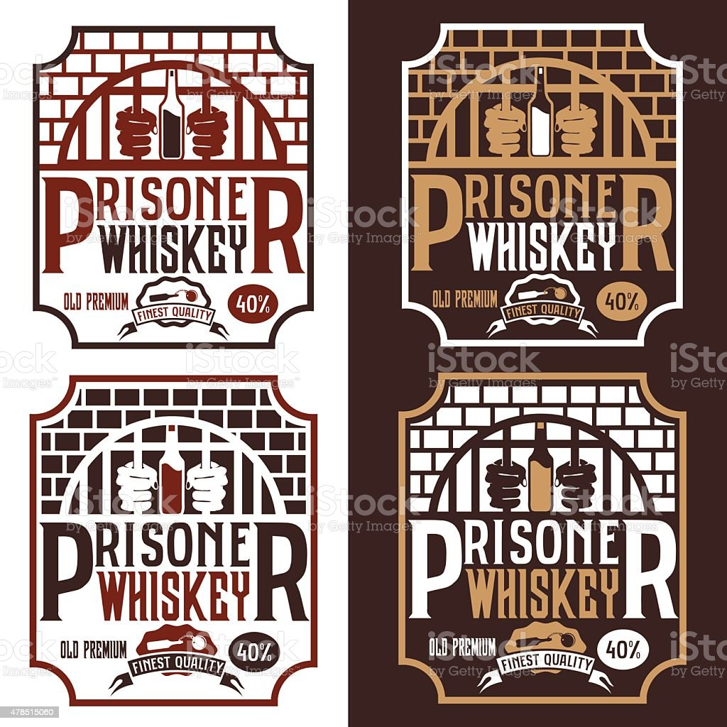 Prisoner Whiskey Vintage Labels Set Vector Design Template Royalty Free