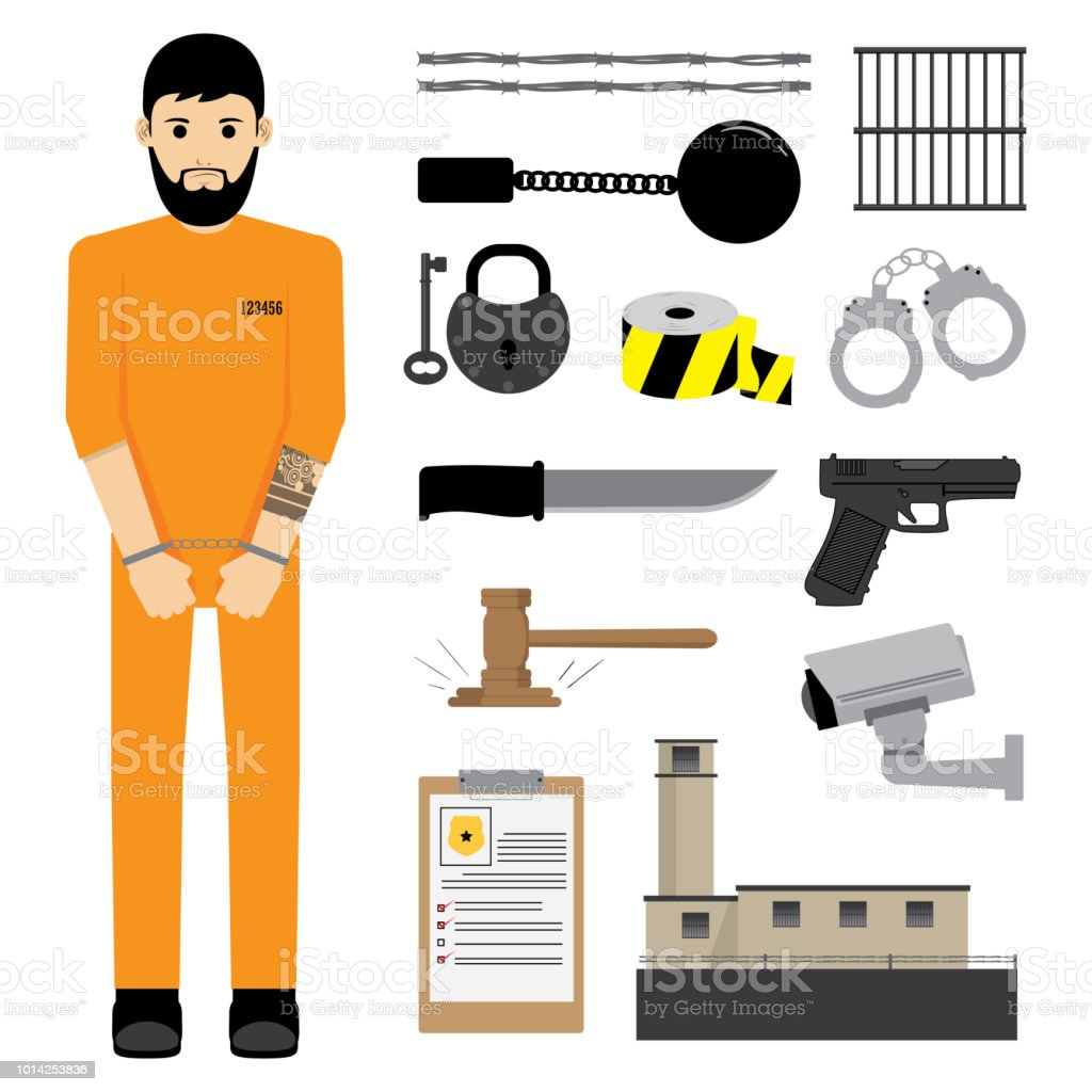 Prisoner with Prison Equipment vector art illustration