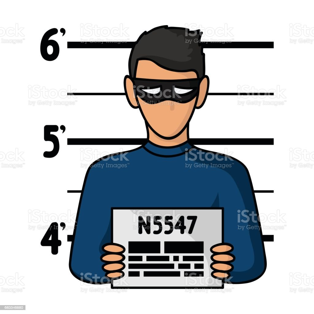 Prisoner's photography icon in cartoon style isolated on white background. Crime symbol stock vector illustration. vector art illustration