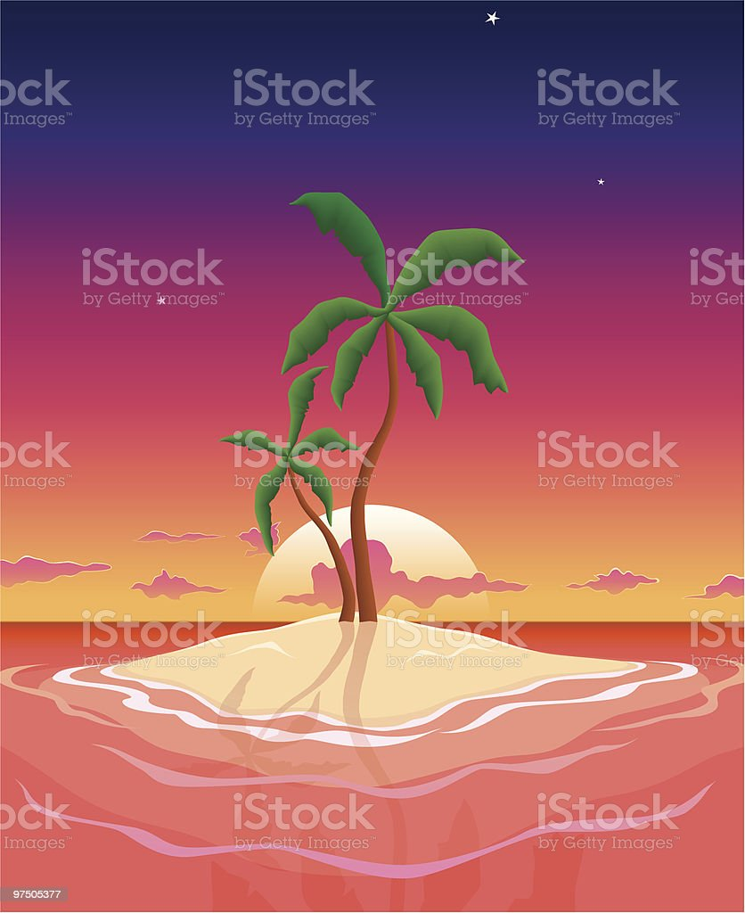 Pristine Sunset Island royalty-free pristine sunset island stock vector art & more images of beauty