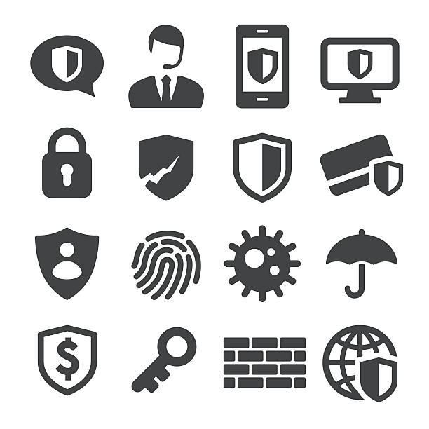 privacy and internet security icons - acme series - blocks stock illustrations, clip art, cartoons, & icons