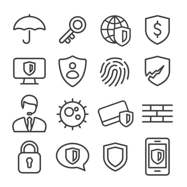 datenschutz und internet security icons set - line serie - wachpersonal stock-grafiken, -clipart, -cartoons und -symbole